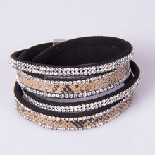 Double Strands Fake Leather Bracelet With Snake Skin and magnetic closure