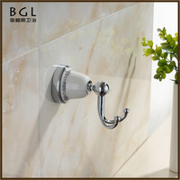 Hotel Style Double Post Zinc Alloy And Ceramic Chrome Mounting Bathroom Fixtures And Accessories Wall Mounted Clothing Hook