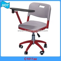 ajudstable chair metal legs with writing tablet armest