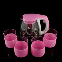 1300ml hot sale new fashion machine pressed with silicone customized tea glass pot