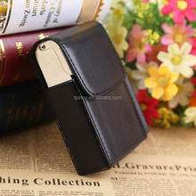Portable Black Pocket Leather Metal Tobacco 20 Cigarettes Case Smoke Holder
