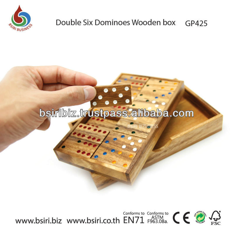 wooden puzzle Double Six Dominoes, Wooden box