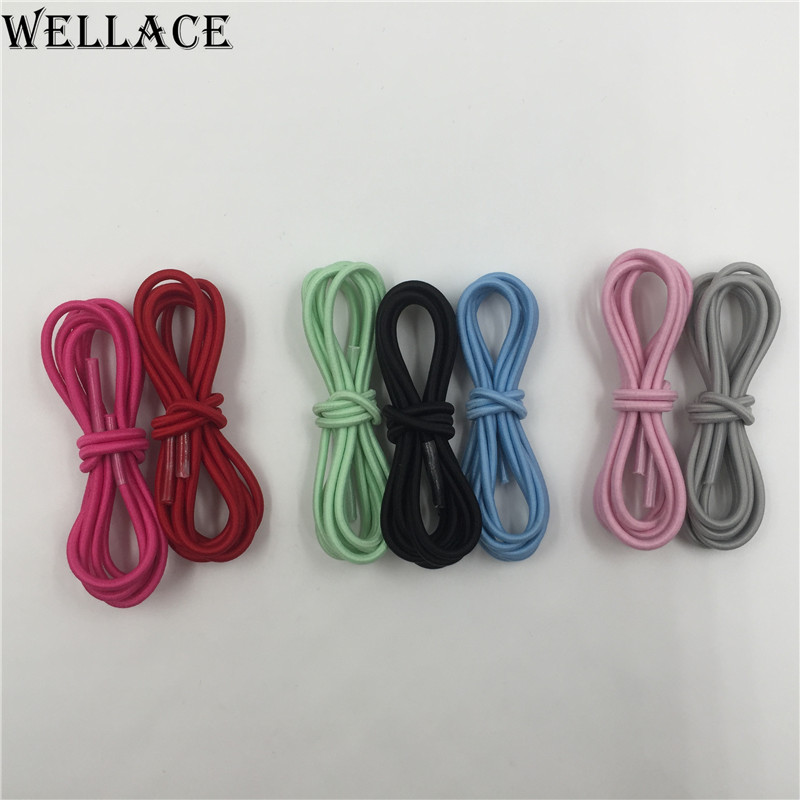Wellace three colors round shoeslace elastic laces for kids shoes easy quick tie shoelaces