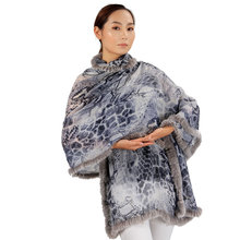 Inner mongolian fashionable lady shawls with rabbit fur TCS113