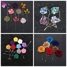 High Quality Handmade Flower Boutonniere Stick Brooch Pin Mens Accessories Men Lapel Pin Brooch Flower Suit pin