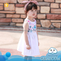 Children cotton frocks designs sleeveless summer kids clothes korean style fashion children mew model girl child dress for 2-7Y
