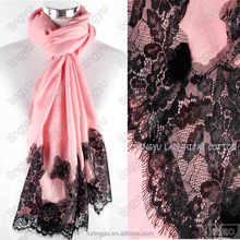 New trends high fashion whosale muslim women scarf pink lace cotton hijab