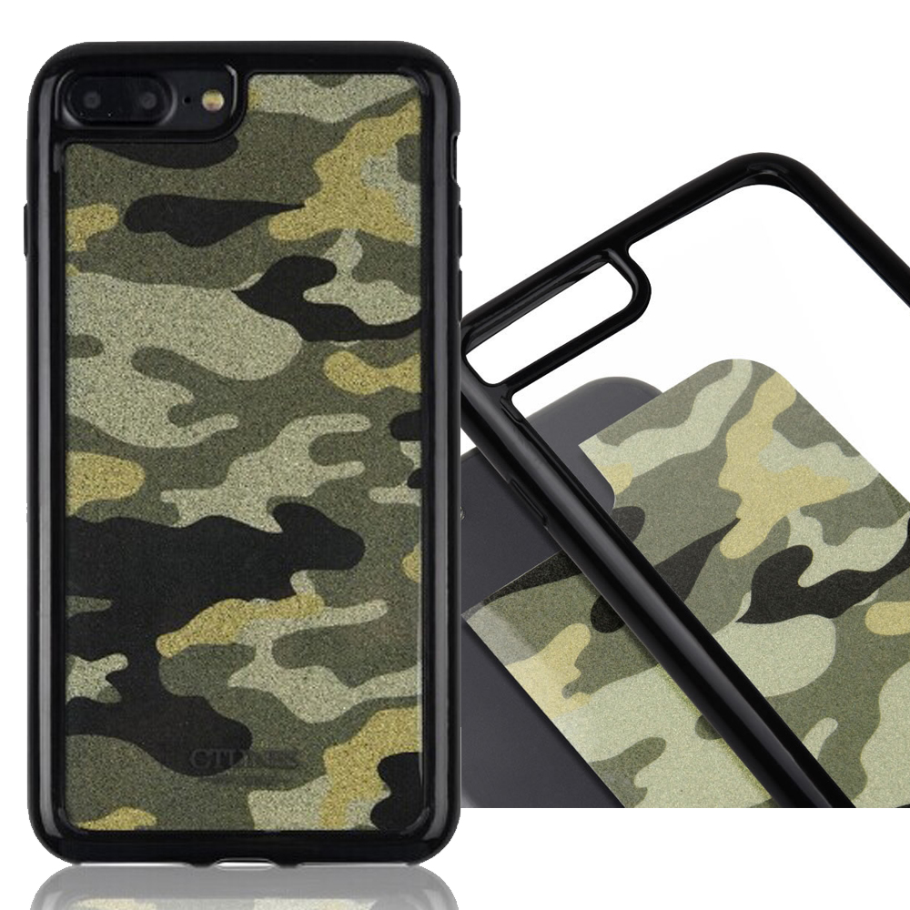 C&T Camouflage Film 2-in-1 Dual Layer TPU Bumper Cushion + Hard PC Clear Back Cover Protective Cases for Apple iPhone 7 Plus