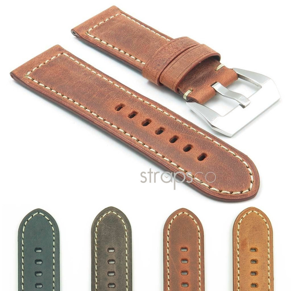 DASSARI Salvage Italian Leather Vintage Distressed Watch Band Strap for Panerai