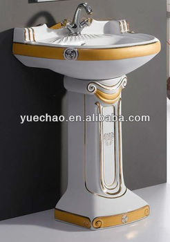pedestal basin ceramic sink wash basin bathroom sink decoration golden sink color basin