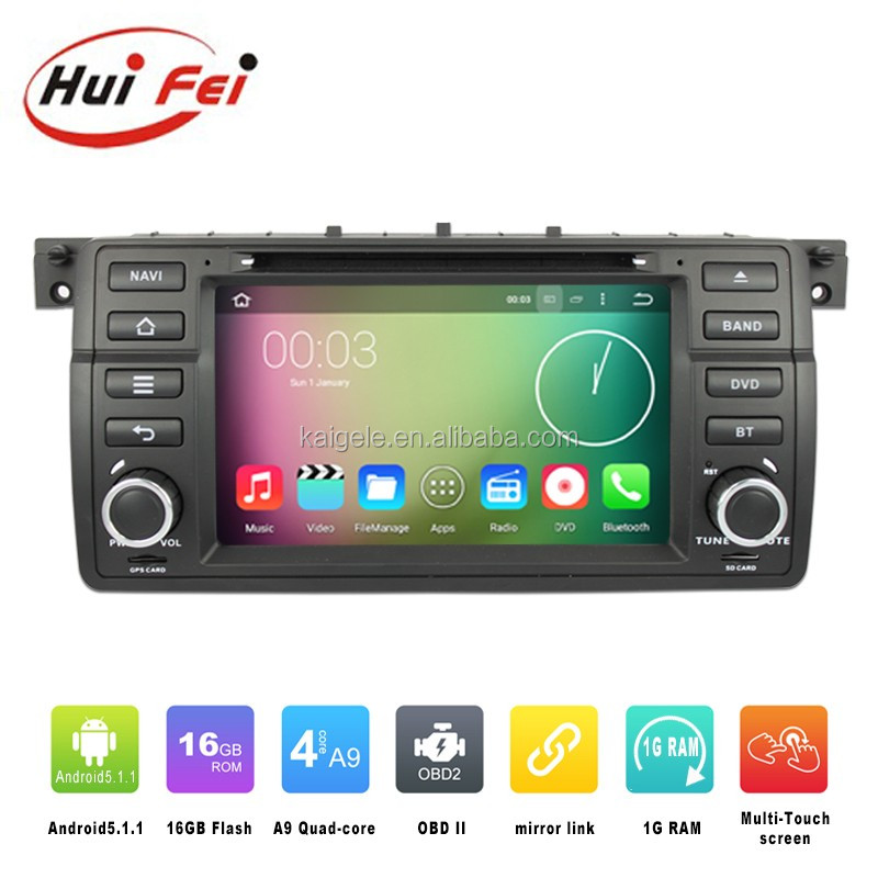 Hot sale central multimidia! Car Autoradio DVD for BMW E46 GPS Sat Nav Headunit Navigation Multimedia Player Android 5.1.1