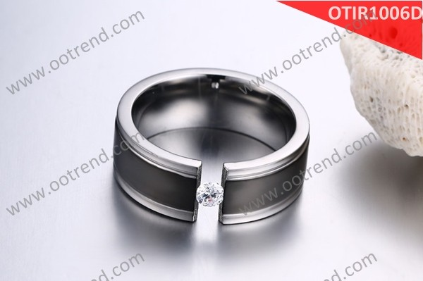 Onyx black grand man tension setting single stone finger ring