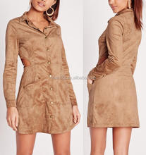 Girl faux suede cut out shirt dress tan one piece dress 2017