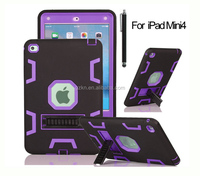Tough defender hard plastic and TPU cover for Apple iPad mini 4 case