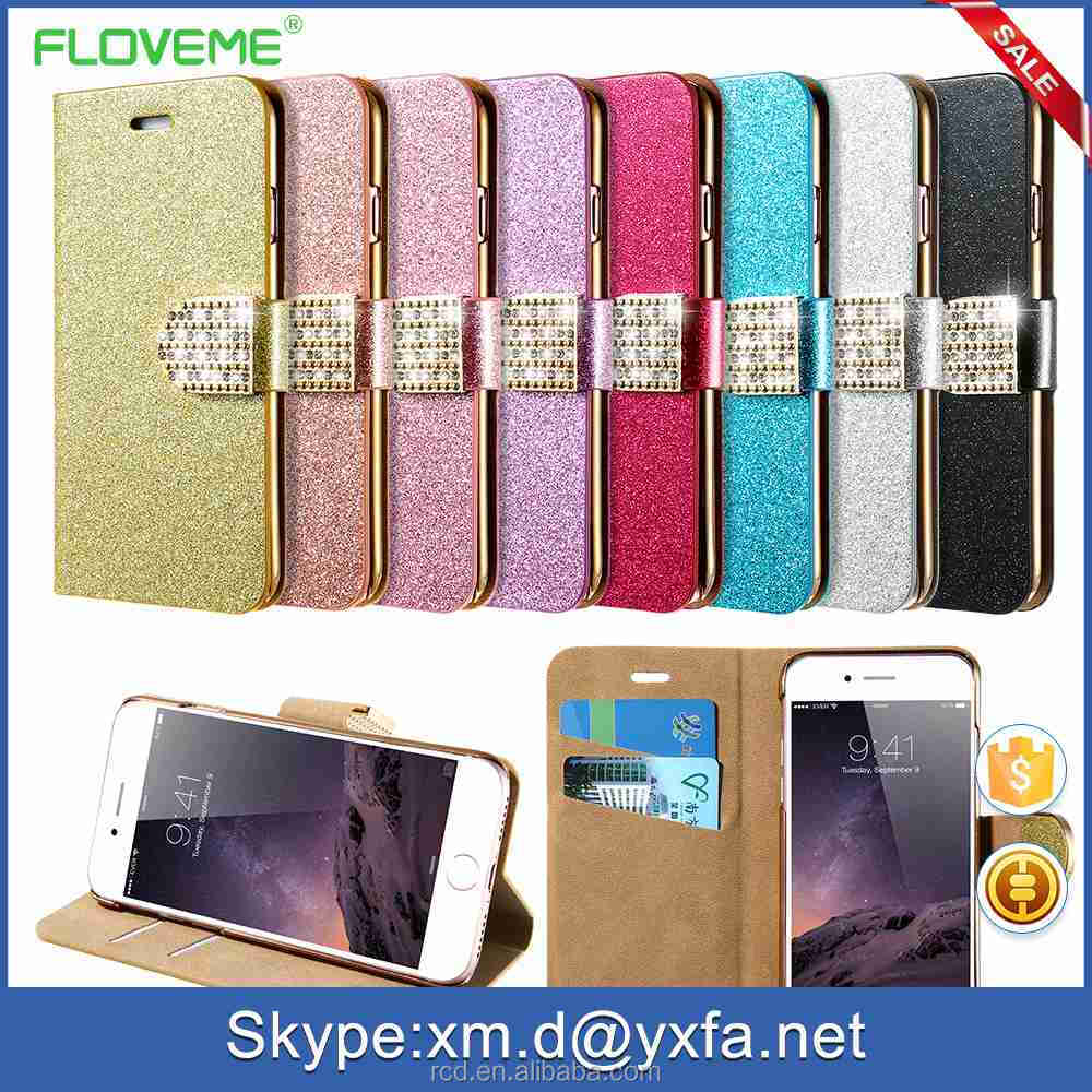 Wallet Flip Cover For iPhone 7, Rhinestone Bling Bling For iPhone 7 Case, For iPhone 7 Rhinestone Covers
