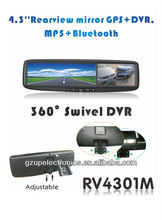 "hot sale 4.3"" rearview mirror monitor with GPS BT SD DVR optional"