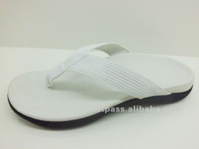 White Color Lady's Genuine Leather Slipper