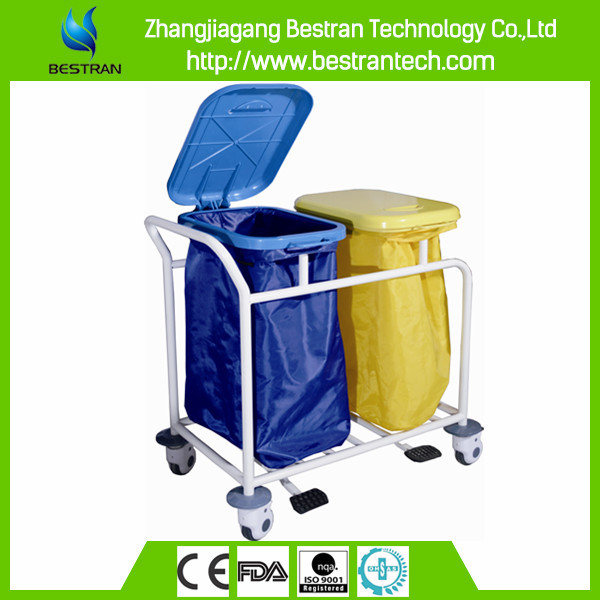 China BT-SLT008 Easy clean nursing 304 stainless steel medical linen trolleys surgical instrument carts hospital carts