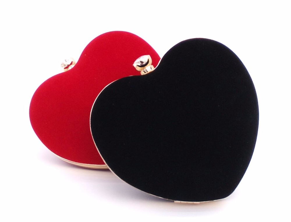 Elegant Ladies velvet Fabric Clutch Bag Purses In Heart Shaped For Wedding Party