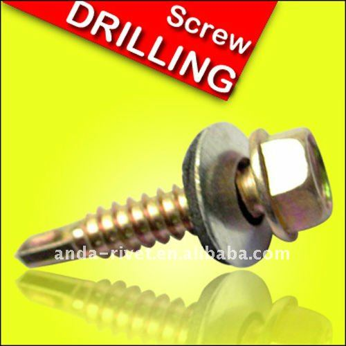 hex flange head self drilling screw with washer