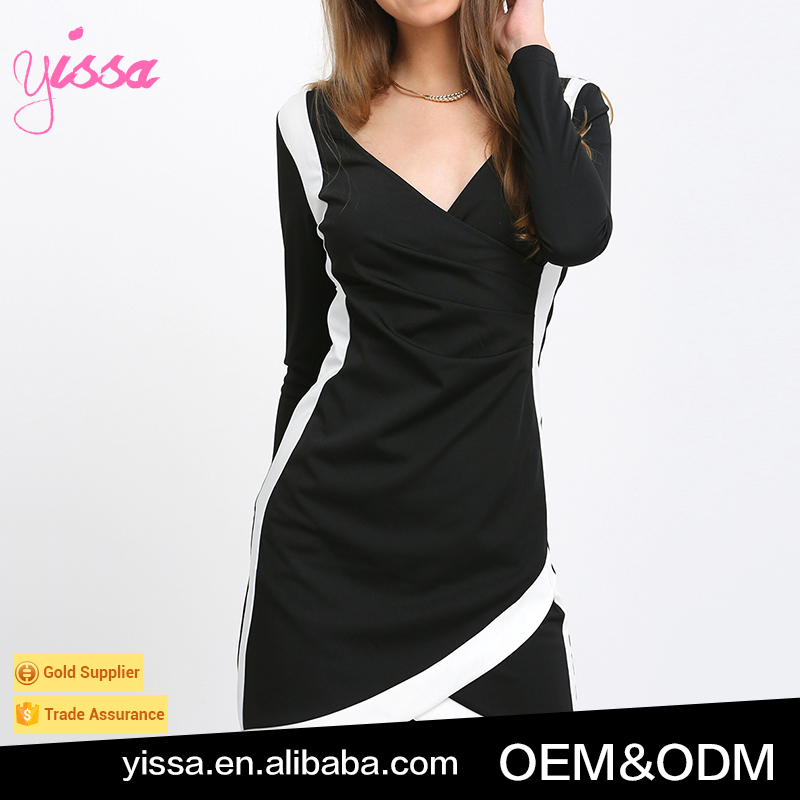 Yissa 2016 Women's Elegant Black Long Sleeve V Neck Sheath Dress Short Deress