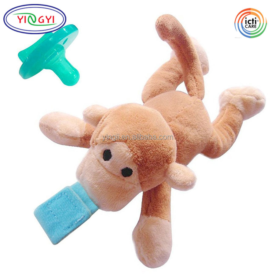 D318 Brown Eco-friendly Animal Pacifier Holder Monkey Toys Baby Newborn Boy Girl Pacifiers Plush Toy Monkey
