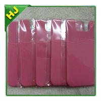 New Pink Rubberized Matte Credit ID Card Slot Holder Case Cover Skin For Smart Phone