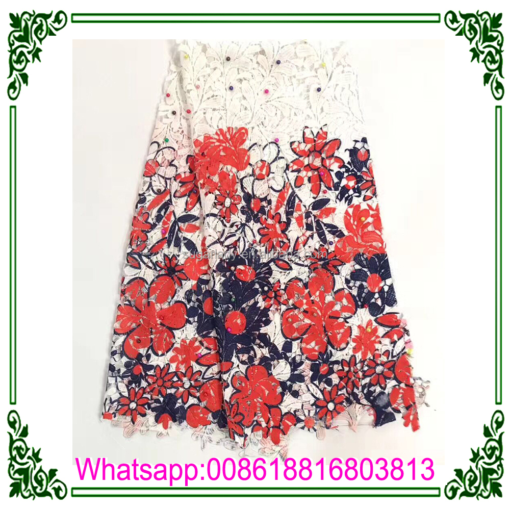 2017 wholesale price printing cord fabric,lace with beaded and stone lace market in dubai