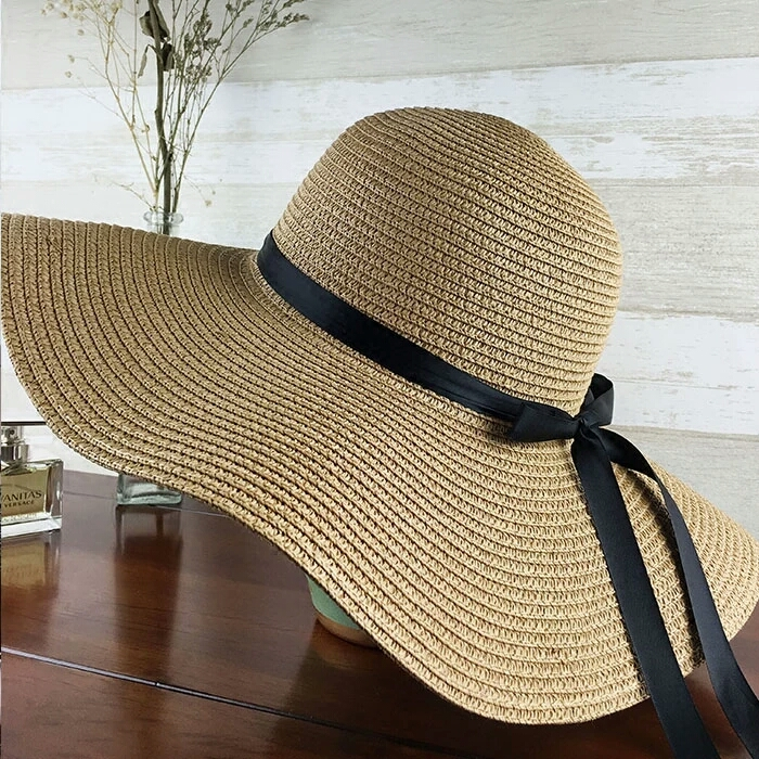 dbecf8e84f3 Women s Big Brim Sun Hat Floppy Foldable Bowknot Straw Hat Summer Beach Hat