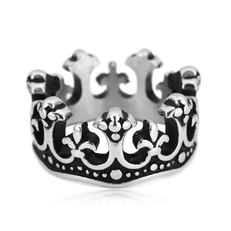 Europe and the United States crown ring titanium steel casting fine ring men women's individuality jewelry