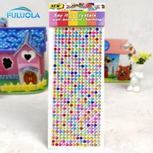 Custom Round Self Adhesive Acrylic Rhinestone Cheap For Cell Phones Crystal Stickers