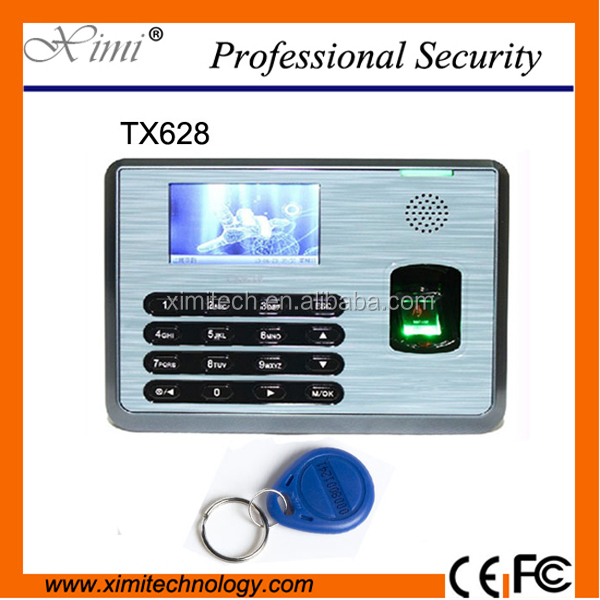 3 inches color screen fingerprint time and attendance system TX628 finger print reader time clock optional smart card reader