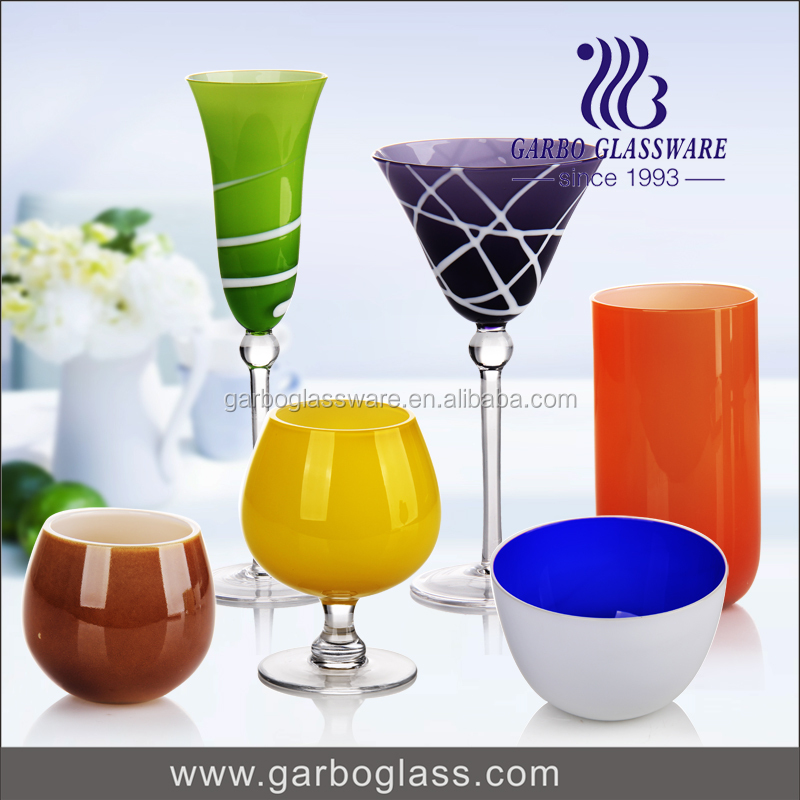 Hand Painted Colorful Home Decorative Glass Goblet/ Drinkware Tumbler beer cup