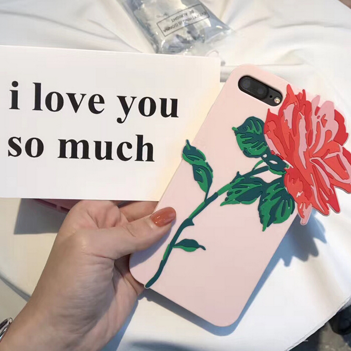 unbreakable rose silicone waterproof mobile phone case for iphone 6 7