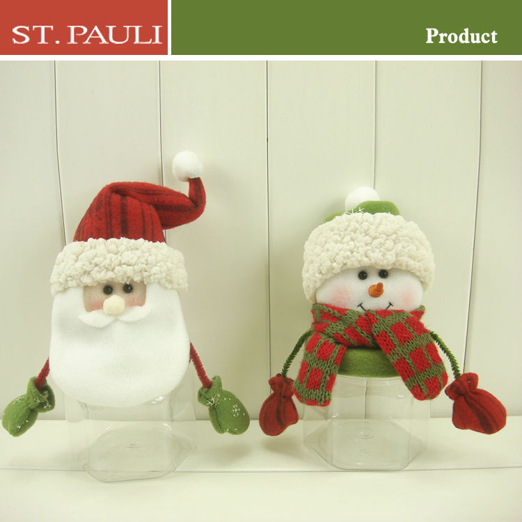 hot sale 8 inch santa and snowman christmas cookie jars wholesale for handmade