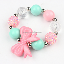 Cute Plastic Bow bubblegum Elastic bracelet For Little Girls,Candy Color jewelry for kids