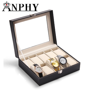 ANPHY C35 Black PU leather watch display box 10 slots watch box leather