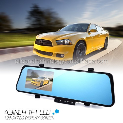 Rearview Mirror Monitor Recorder Full HD 1080P Dual Lens Camera Mirror Dvr