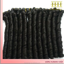 Latest design fashionable natural color spring remy hair extension