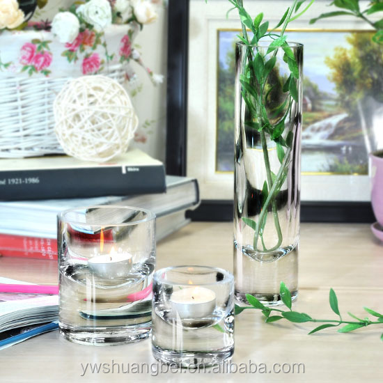 promotion beauty round glass candlestick, family glass candlestick, round glass vase