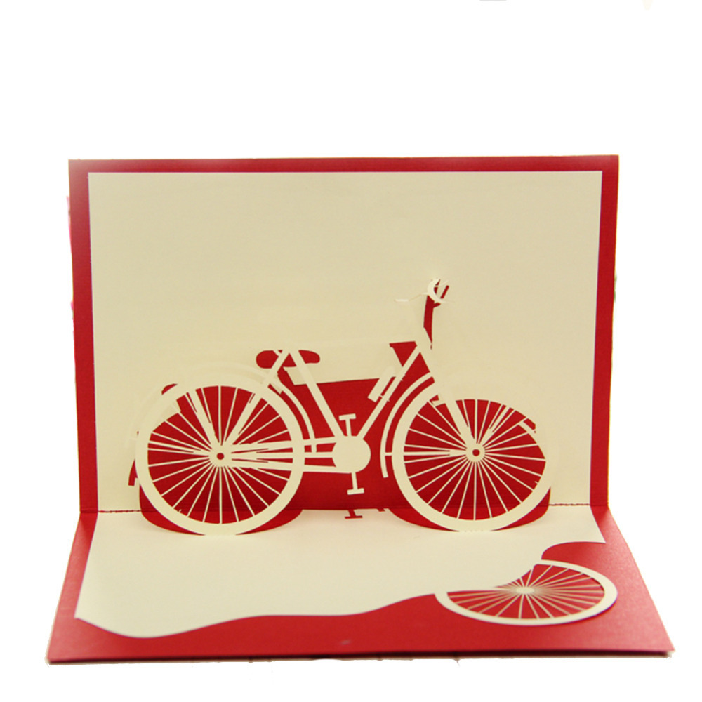 Buy Bicycle Red Handmade 3D Pop UP Greeting Cards Free Shipping ...