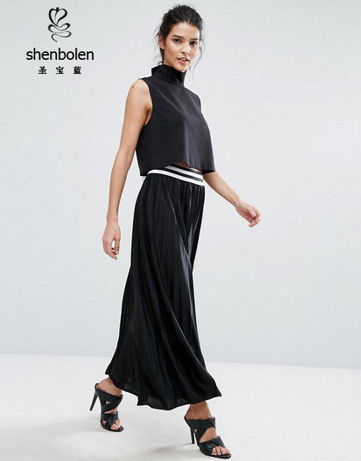 Pleated Black Casual Long Maxi Women skirt Wholesale in China
