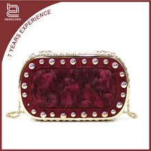 Handcee brands wholesale customized hot sale fur&leather horse hair evening bags