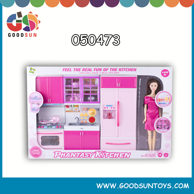 New Hot Selling Mini Kitchen Play Set Toy with Barbie Modern Kitchen Toy Set Toys Kitchen Play Set