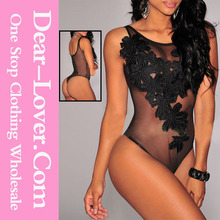 FTV Midnight Floral Embroidered Mesh Teddies Suit Sexy Hot Fashion Show Lingerie