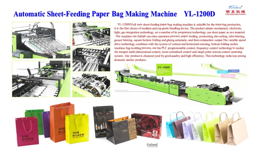 Zhejiang China Favorable White Cardboard Wholesale Green Stripe Gift Paper Shopping Bags Making Machine YL-1200D