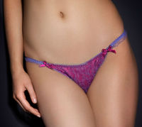 all-over violet French Leavers lace hot pink silk lines front string thongs