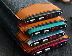 Dual Usb ports slim power banks with leather bag 8000mah,8000mah metal power bank with leather pouch,8000mah cell phone chargers