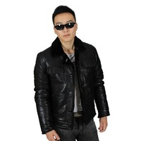 Fur Collar Custom Men Winter Leather Jacket with Imitation Cashmere Inside