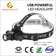 Factory Most Powerful 18650 Battery Rechargeable Red Led Head Lamp 10W USB Charging Aluminum diving mining headlamp light